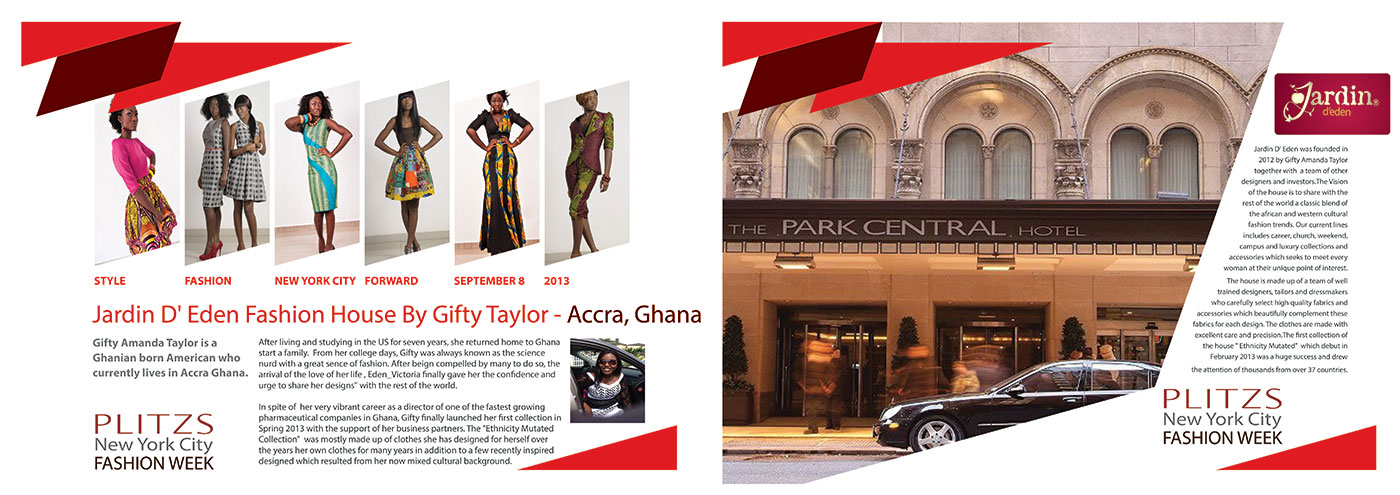 Jardin D Eden Fashion House By Gifty Taylor Accra Ghana Sunday Designer Showcase 4 Guest Check In Time 6 15pm Plitzs New York City Fashion Week