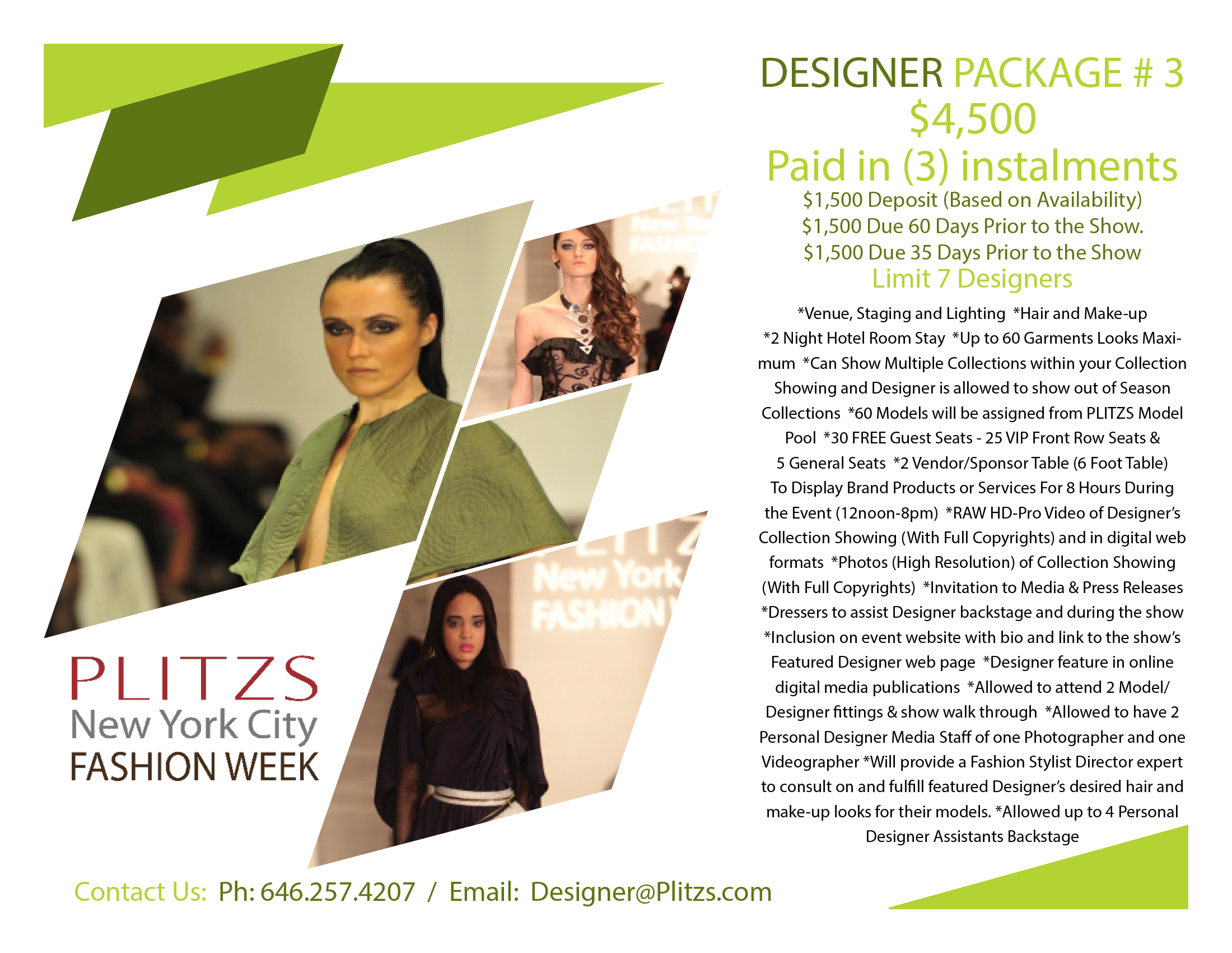 Designer Package 3 Payments Are Final And Non Refundable And Non Transferable Plitzs New York City Fashion Week